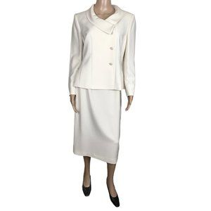 Le Suit cream 2 Piece long skirt and blazer set